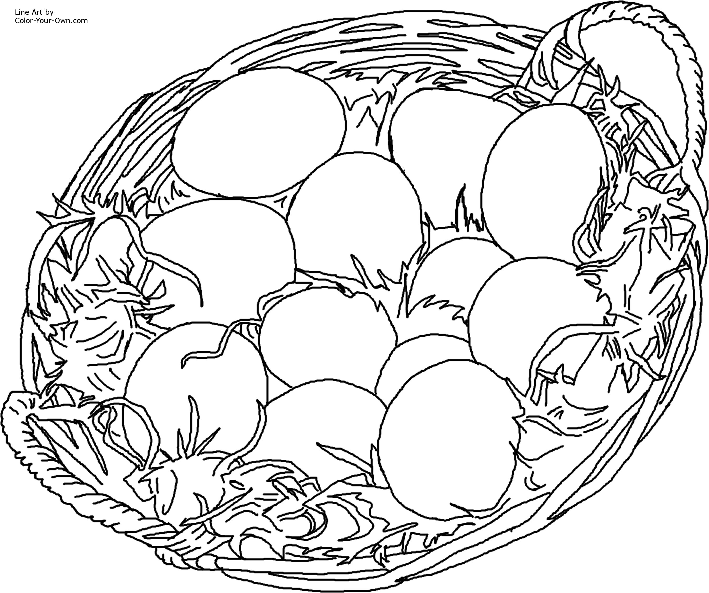 2700x2260 Easter Eggs In Basket Coloring Page