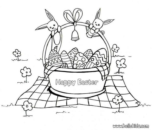 620x530 Chocolate Egg Basket Coloring Pages