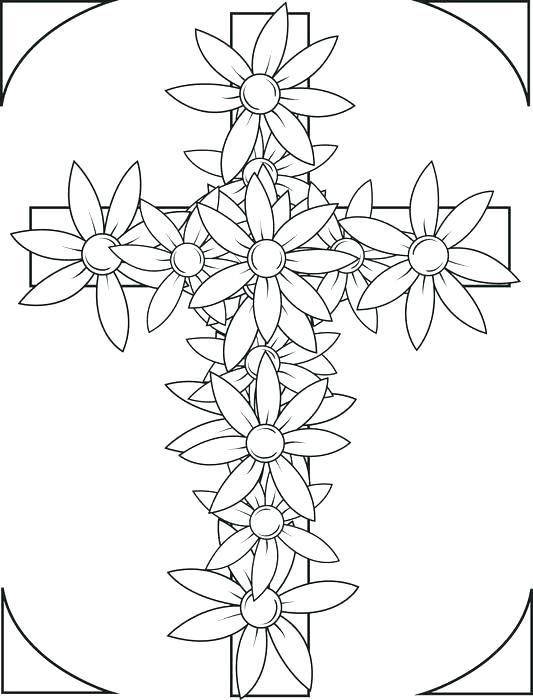 533x700 Easter Flower Coloring Pages Free Cross Coloring Pages Cross