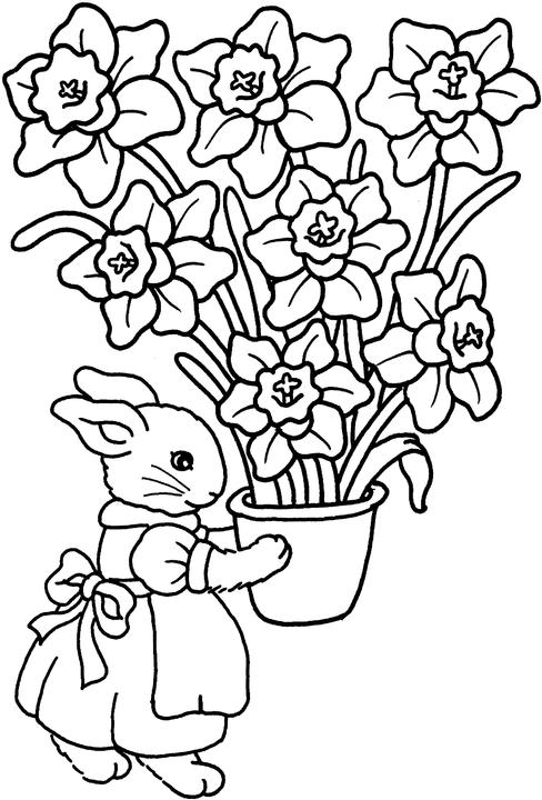 488x720 Easter Flowers Coloring Pages