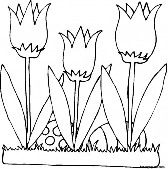 336x338 Printable Easter Eggs And Flowers Lilies Coloring Page For Kids