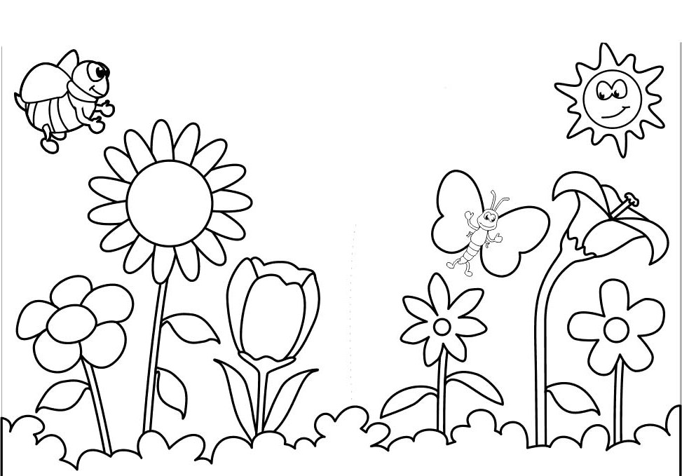 973x679 Spring And Butterfly Flowers Coloring Page