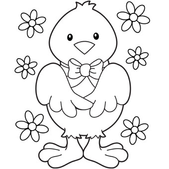 340x340 Baby Chick With Flowers