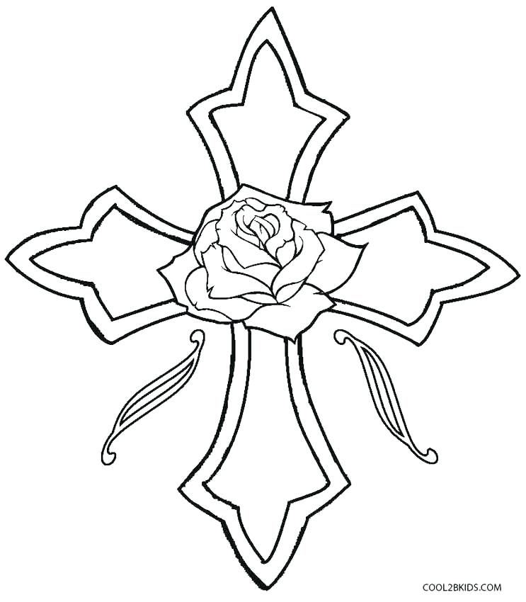 743x850 Easter Coloring Pages With Crosses Heart With Flowers Coloring