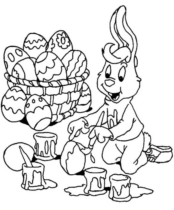 600x724 A Bunny Boy Painting Easter Eggs Happily Coloring Page