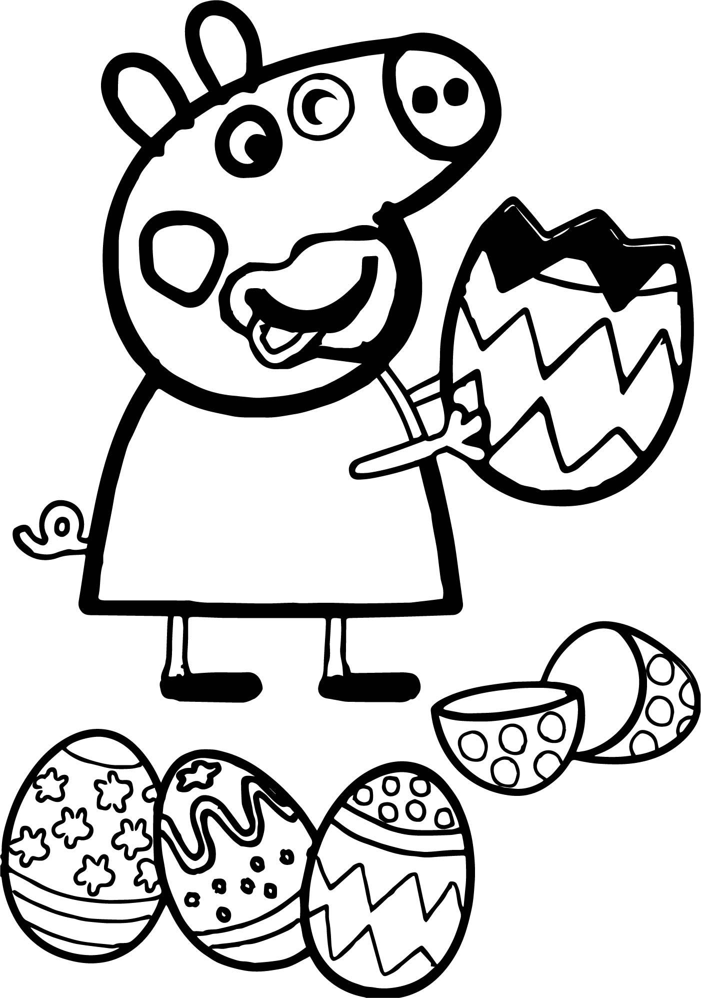1402x1995 Astonishing Peppa Pig Funny Eating Easter Egg Coloring Page