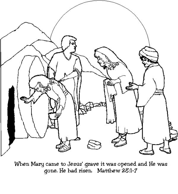 600x654 Bible Coloring Pages Jesus Resurrection