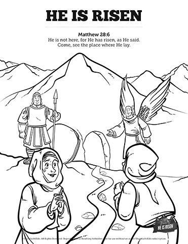 371x480 Matthew He Is Risen Easter Sunday School Coloring Pages Get