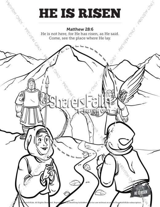 520x673 Matthew Coloring Page Matthew He Is Risen Easter Sunday