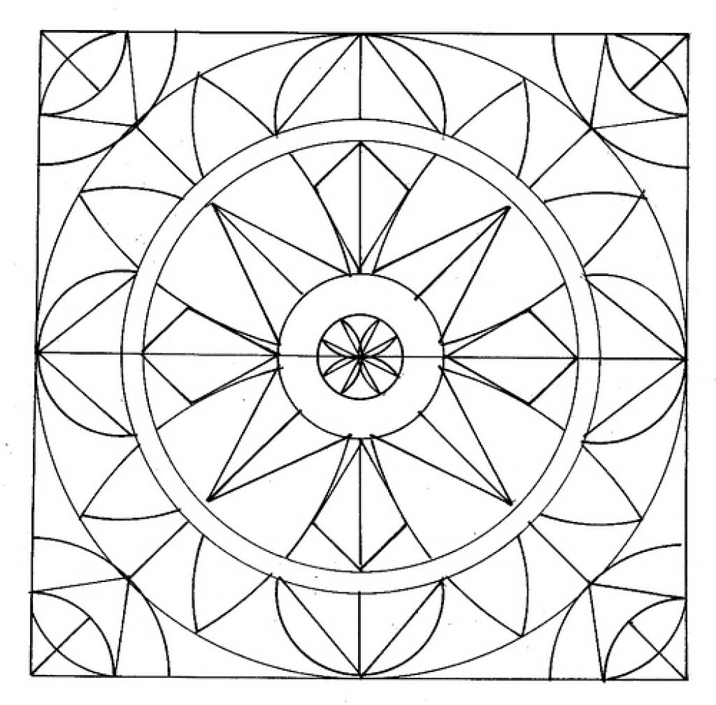 1024x1009 Easy Geometric Abstract Coloring Page For Kids Fun Ideas