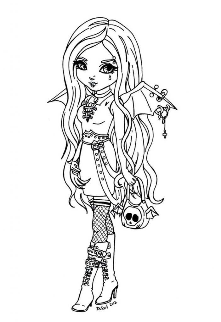 702x1024 Gothic Coloring Pages Easy Anime Colouring Fairy For Adults Girl