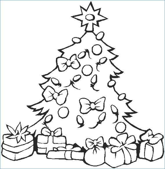 570x584 Easy Christmas Tree Coloring Page