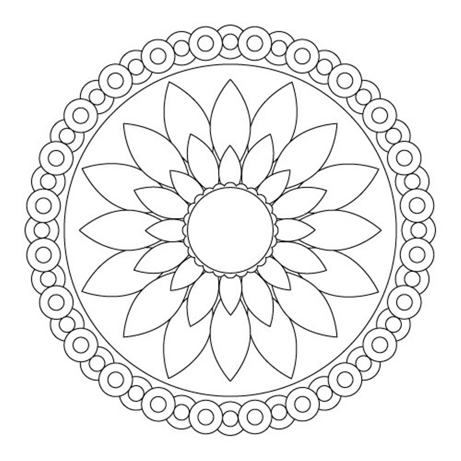 945x945 Coloring Pages Flower Free Printable Easy Lovely Acpra