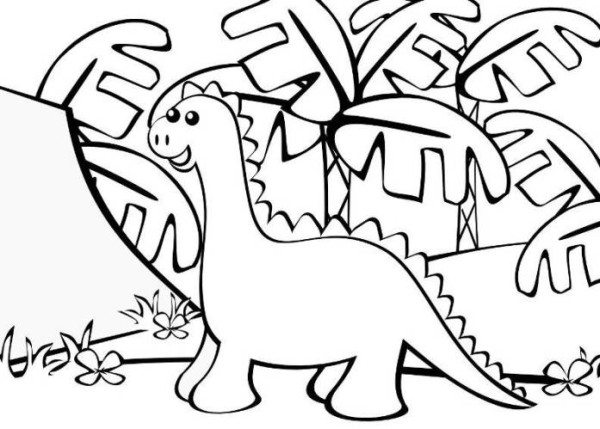 600x429 Easy Dinosaur Coloring Pages For Kindegarten