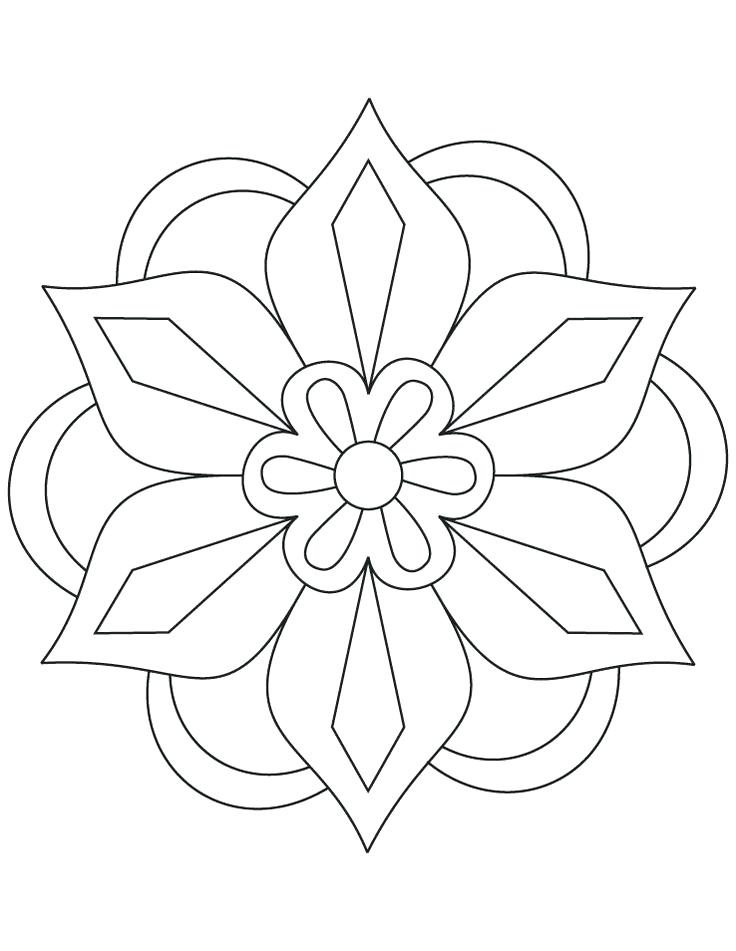 Easy Flower Mandala Coloring Pages at GetDrawings.com
