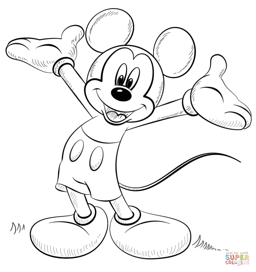 824x874 Mickey Mouse Coloring Page Free Printable Pages Throughout Micky