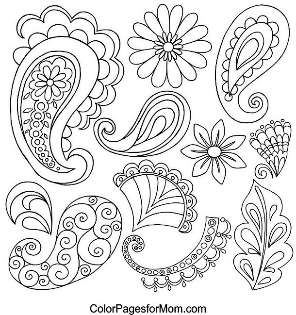 Easy Paisley Coloring Pages