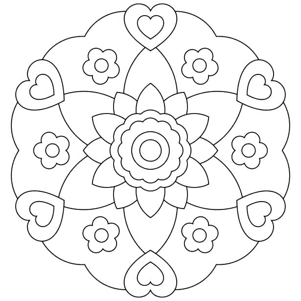 615x615 Simple Coloring Pages Easy Flower Coloring Pages Easy Mandala