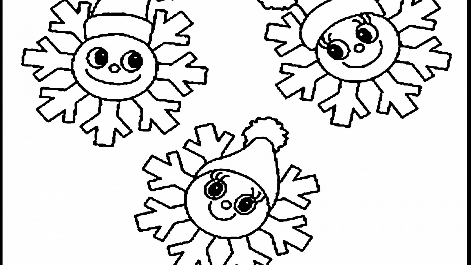 1920x1080 Snowflakes Coloring Pages Simple For Kids Unique Snowflake Free