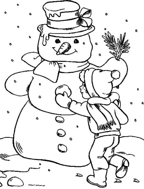 600x785 Making Snowman Coloring Page Color Luna