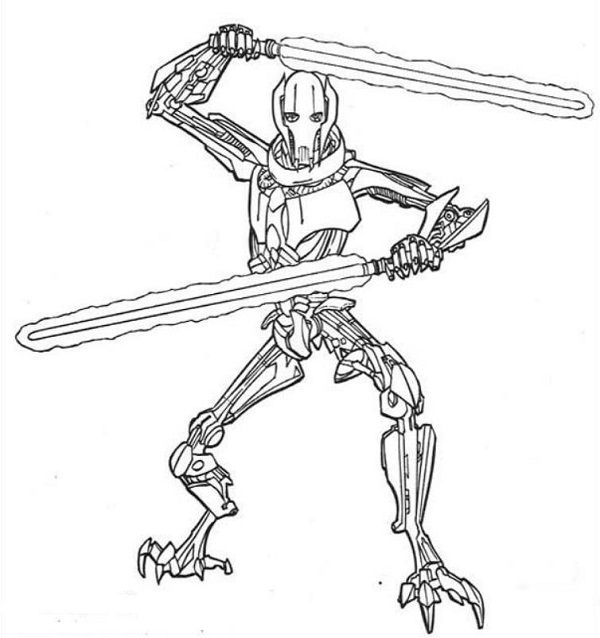 600x638 Star Wars Coloring Pages General Grievous Coloring Kids