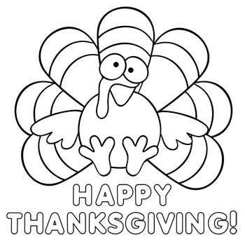 350x351 Cute Thanksgiving Turkey Coloring Pages