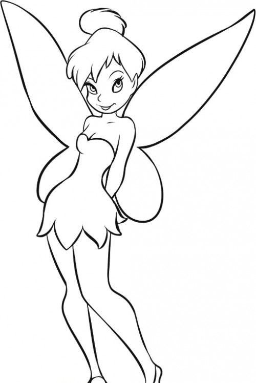 Easy Tinkerbell Coloring Pages