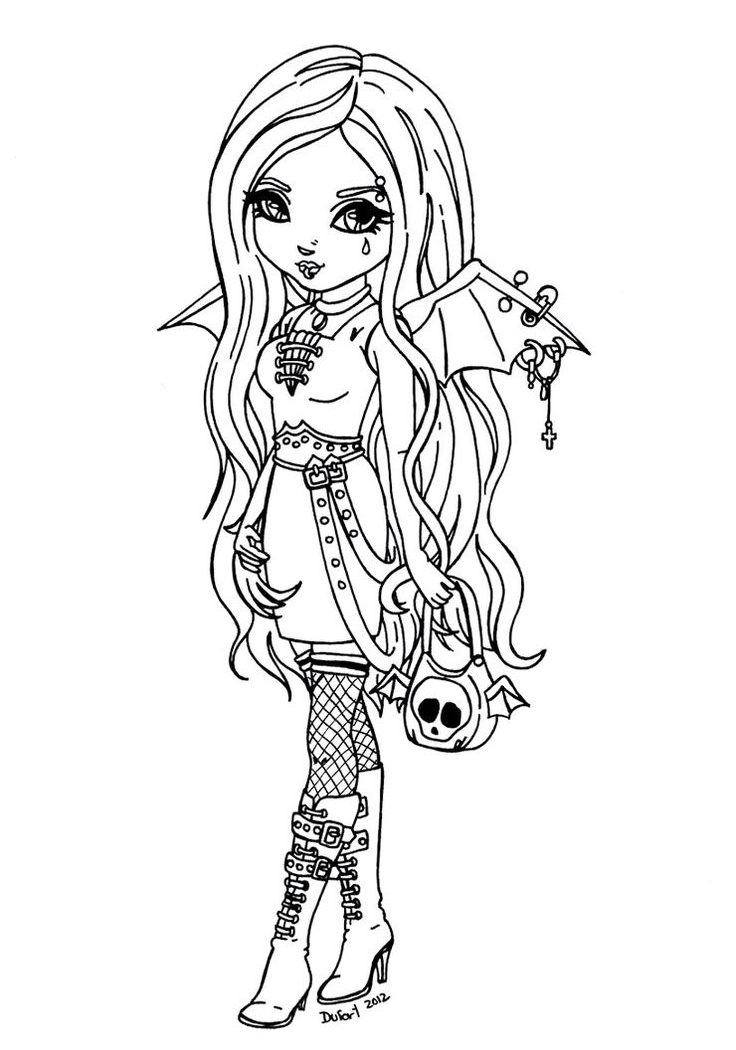 736x1050 Easy Gothicng Pages Goth Tinkerbell To Print Colouring Printable