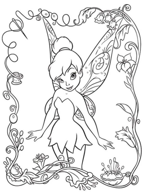 600x809 Beautifull Tinkerbell Coloring Pages