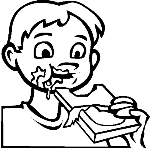 500x495 Eating Coloring Pages Young Child Eating Free Coloring Pages