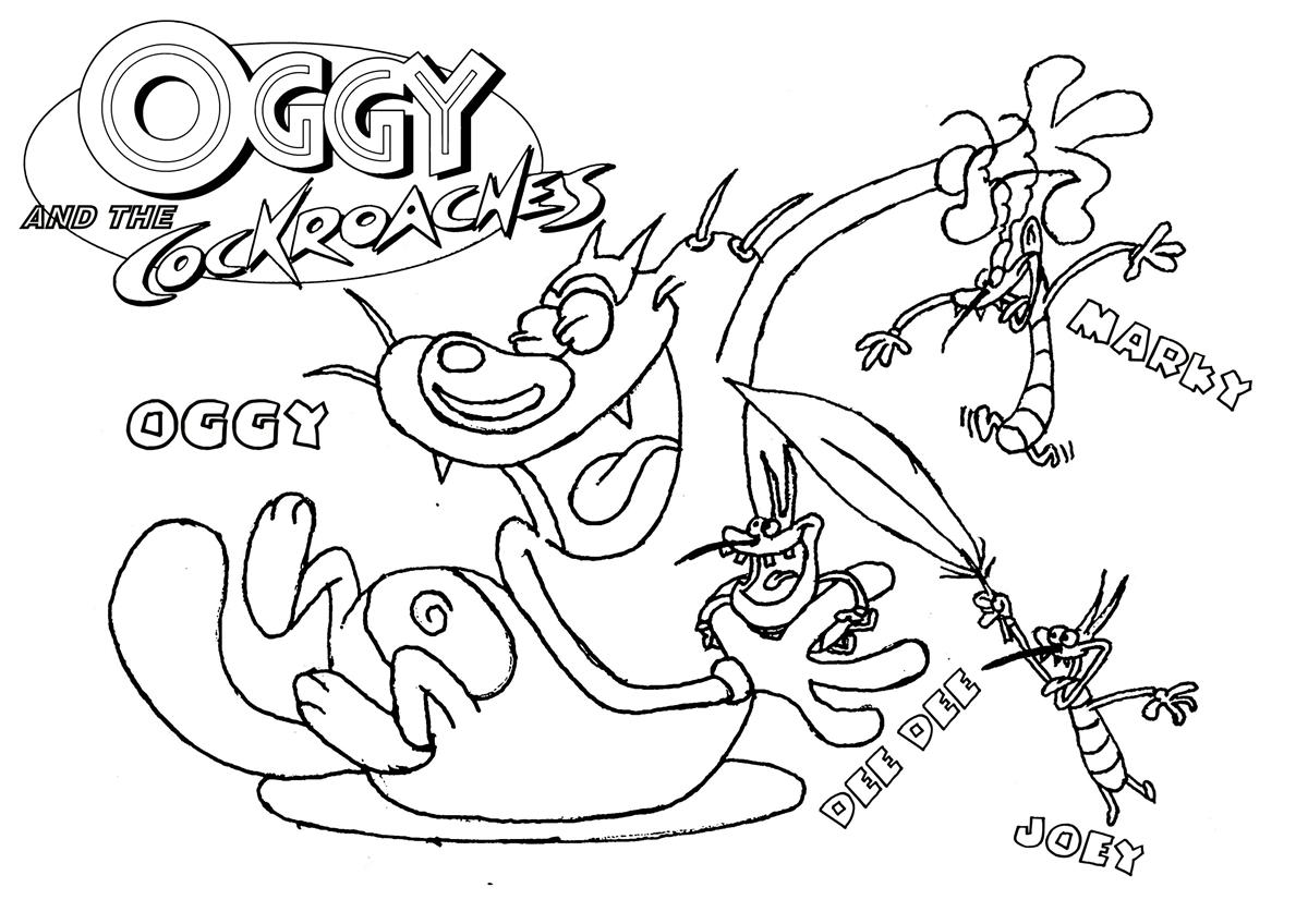 1200x848 Oggy And The Cockroaches Coloring Pages