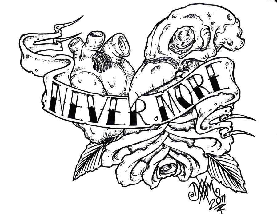 900x696 Edgar Allan Poe Coloring Book Illustration