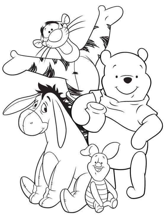 564x729 Eeyore Tigger Pooh And Piglet Coloring Page Colour