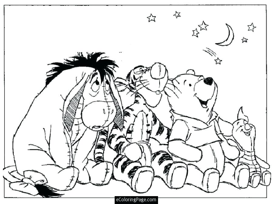900x674 Baby Eeyore Coloring Pages The Pooh Piglet Moon And Stars