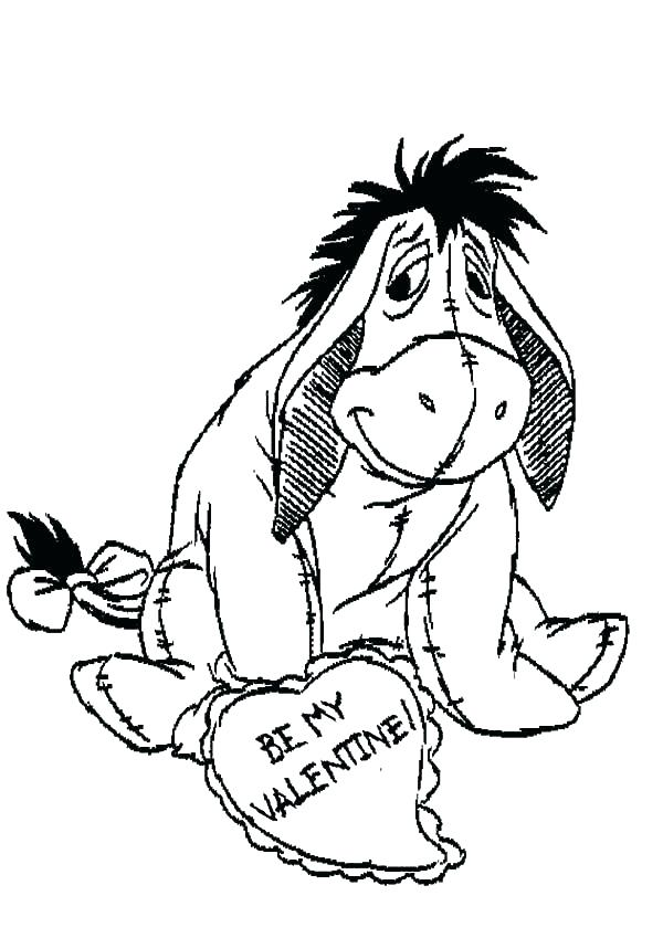 600x849 Eeyore Coloring Page Dazzling Coloring Pages Valentine And Piglet