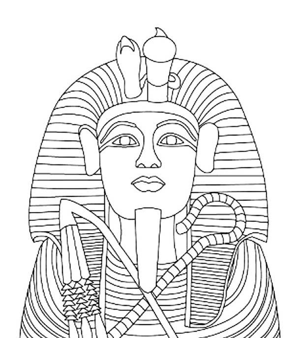 600x687 King Tutankhamen S Gold Coffin Coloring Page Egypt Theme Party