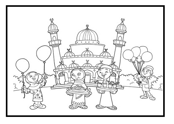 563x402 Kids Enjoying Eid Coloring Pages Coloring Pages