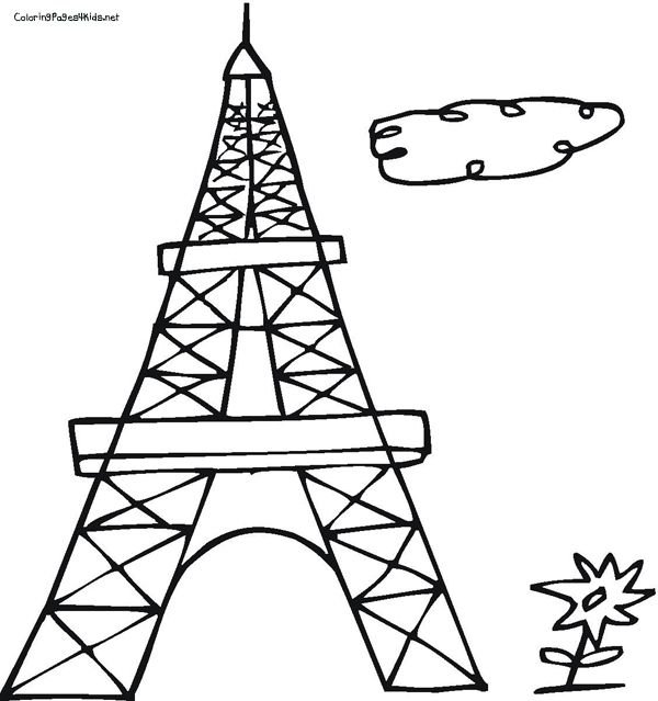 600x639 Best Eiffel Tower Coloring Pages For Kids