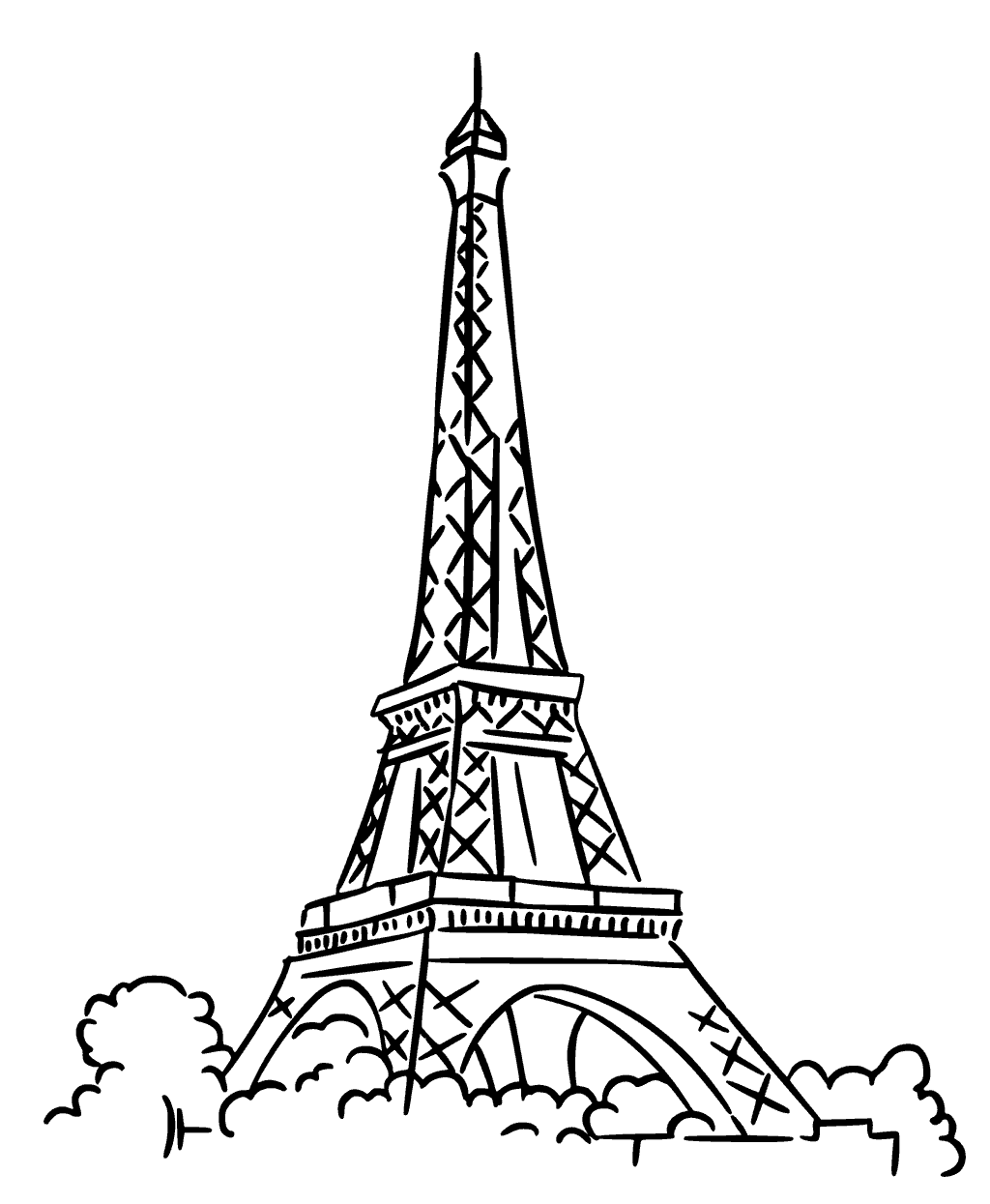1024x1245 Paris Eiffel Tower Coloring Pages
