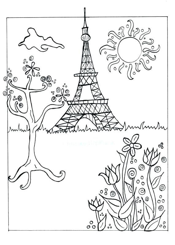 570x798 Tower Coloring Lesson Kids Coloring Page Coloring Eiffel Tower