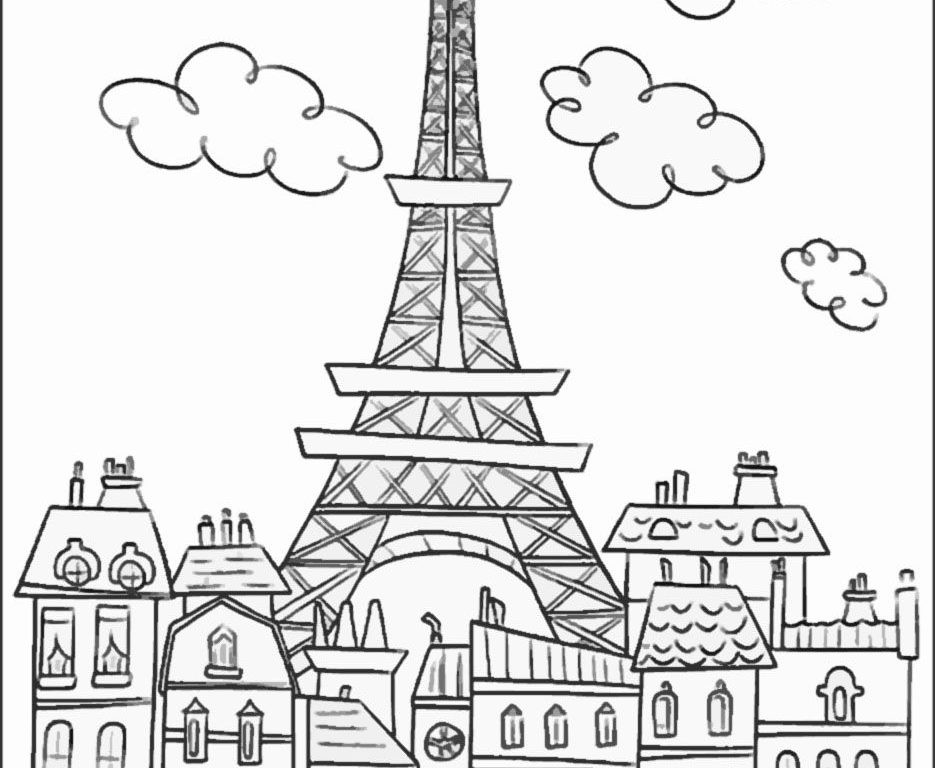 935x768 New Printable Eiffel Tower Coloring Pages