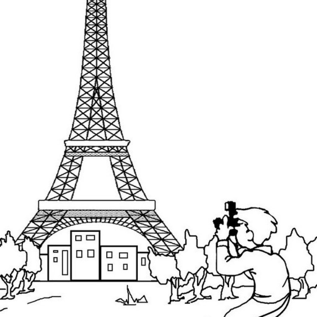 1024x1024 Eiffel Tower Coloring Pages