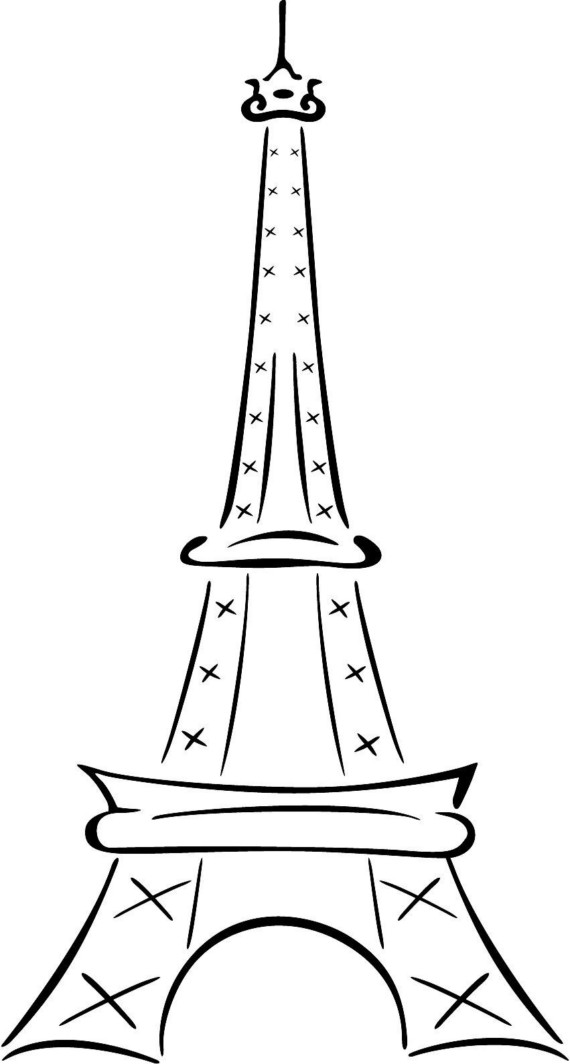 570x1064 Eiffel Tower Simple Drawing