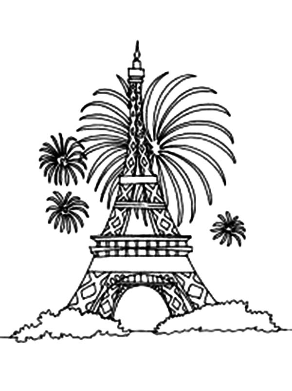 600x801 Eiffel Tower And Firework Coloring Page