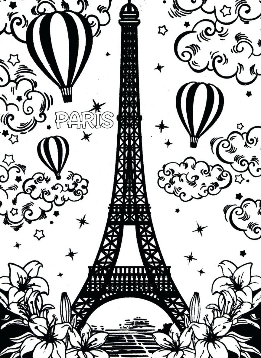863x1181 Cool Eiffel Tower Coloring Printable Page For Kids And Paris Pages