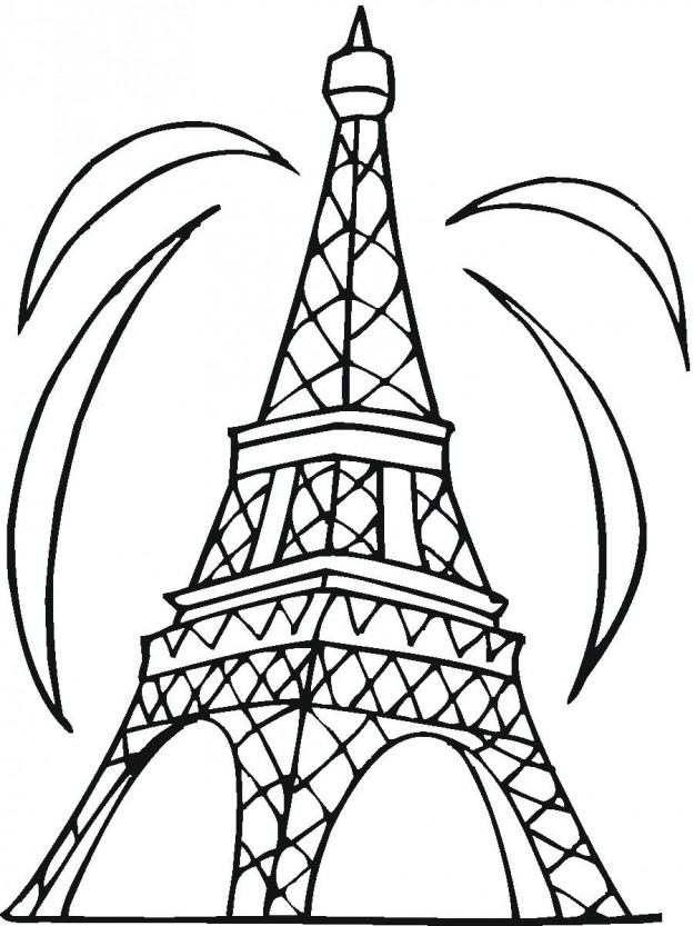 624x833 Eiffel Tower Coloring Page