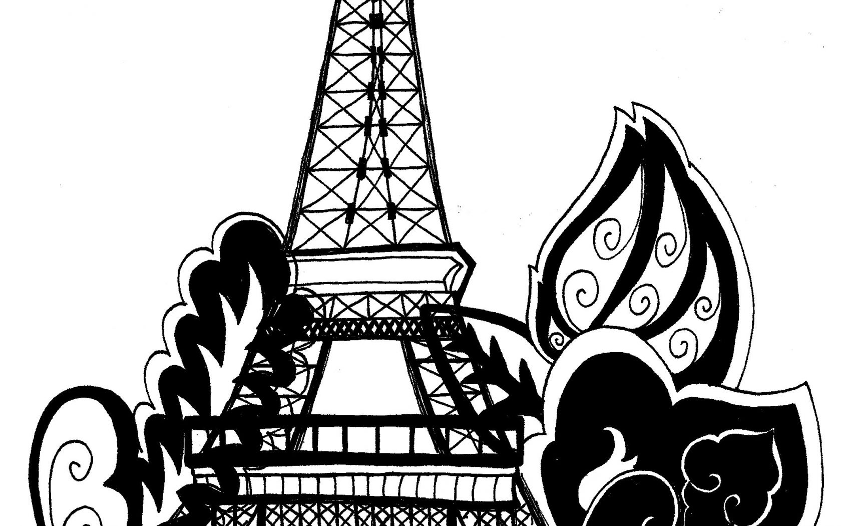 1680x1050 Kids Eiffel Towering Page Outline Colouring France Pages Paris