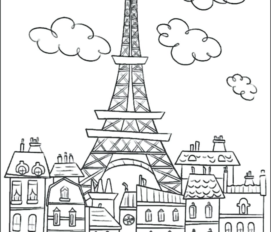 935x800 Printable Photo Of Eiffel Tower Kids Coloring Tower Coloring Page