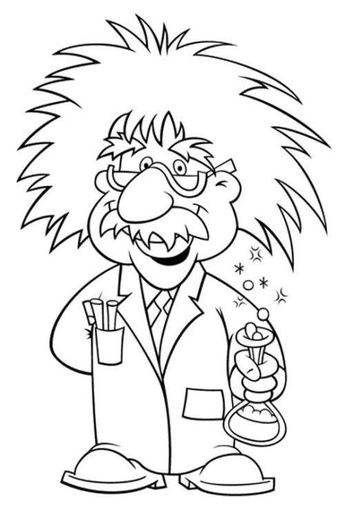 500x737 Albert Einstein Wore Glasses Coloring For Kids Stem Science
