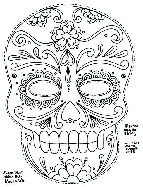 489x640 Dia De Los Muertos Coloring Pictures Day Of The Dead Skull
